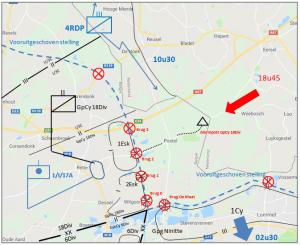 In het kwartier van de GpCy 18Div bereikt de vijand op 11 mei om 18u45 de Belgisch-Nederlandse grens en wordt prompt onder vuur genomen door de 1ste Bij.