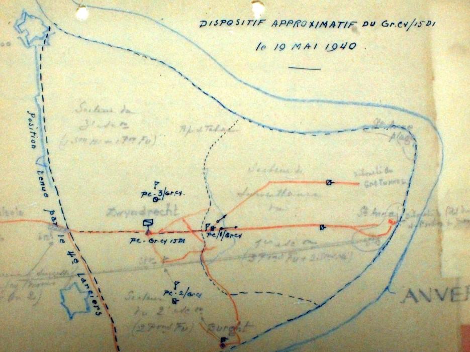 Opstelling van de GpCy 15Div rondom Zwijndrecht op 19 mei 1940.