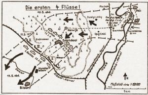 Duitse schets van de opmarsroute doorheen het vak van de Wielrijdersgroepering der 17de Infanteriedivisie.