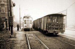 Het soort goederentram waarmee Lt Mockel zijn gevaarlijke lading via het spoornet van de NMVBS van Steendorp naar bracht