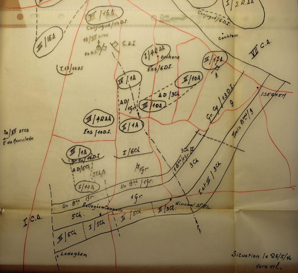 Toestand in de operatiezone van het IVde Legerkorps op 26 mei 1940 om 11u00