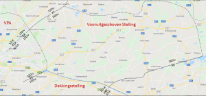 Sector van de 18Div aan de vooravond van de oorlog (projectie op recente kaart)