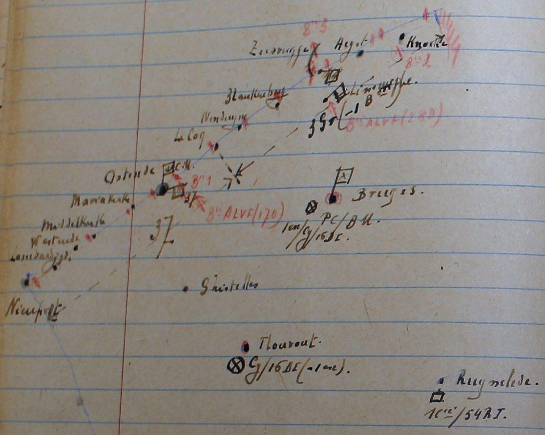 Schets aan de hand van Luitenant-generaal Glorie met de opstelling van de troepen van de Maritieme Basis op 10 mei 1940.
