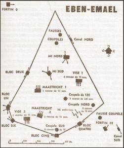 Elementaire schets van de verschillende kazematten en blokken van het fort.