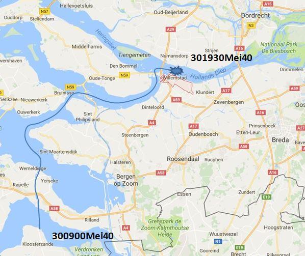 Reisweg van de Rhenus 127 op 30 mei 1940 van Walsoorden tot Willemstad.
