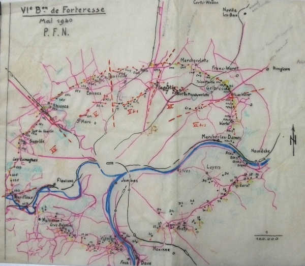 Schets van de door het VIde Bn bezette bunkers rond Namen