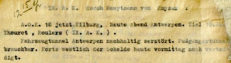 Fragment van een rapport opgesteld door Hauptman von Kayser, stafofficier bij het Duitse IX. Armeekorps, waarin de toestand van de tunnels onder de Schelde beschreven wordt.